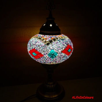 Authentic Turkish handmade unique glass mosaic table lamp, bedroom night lamp, bedside lamp, kid's room lamp.