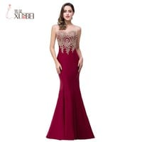 Real Photos Robe De Soiree 2017 Long Formal Burgundy Mermaid Prom Dresses Sexy Party Evening Dresses Vestido De Festa