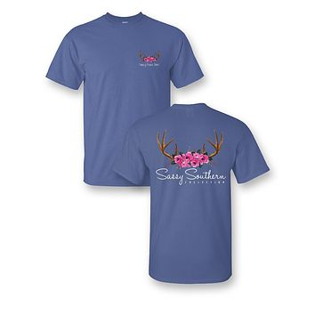 Sassy Frass Comfort Colors Antlers & Roses Deer Skull Bright Girlie T Shirt
