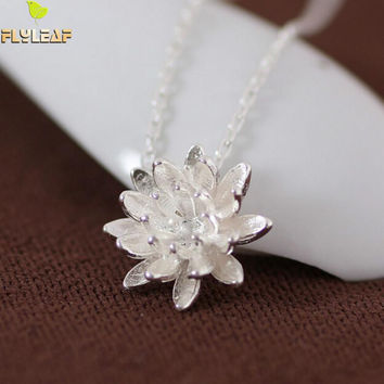925 Sterling Silver Lotus Necklaces & Pendants For Women Elegant Flower Short Necklace Sterling Silver Jewelry Bijoux Femme