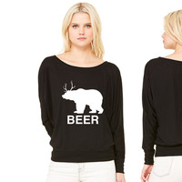Bear Deer Beer - Copy women's long sleeve tee