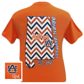 Auburn Tigers War Eagle Chevron State Girly EST. 1856 Bright T Shirt