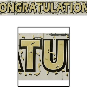 metallic congratulations fringe banner - gold lettering Case of 24