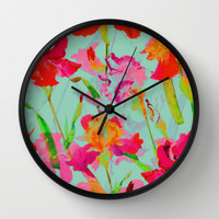 bright abstract iris on turquoise Wall Clock by Clemm