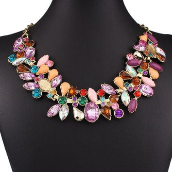 Golden Color Block Luxrious Jewelled Necklace