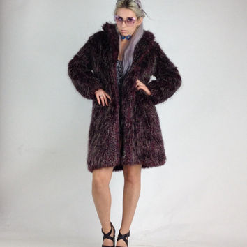 90's Feathered Faux Super Shaggy Leopard Print Purple Fur Coat // M - L