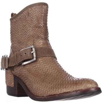 Donald J Pliner Wade Western Ankle Boots, Taupe Cut Snake, 6 US