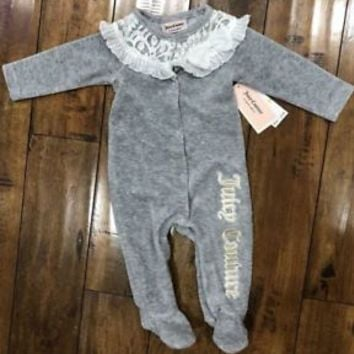 Juicy Couture Baby Girls Grey Lace Velour Coverall Layette (3-6M)