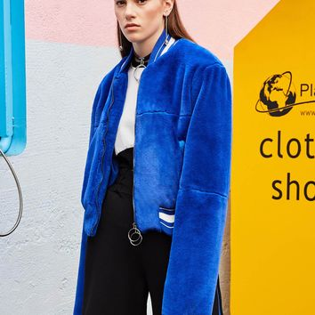 Chicloth Blue Long Sleeve Zipper Suede Jacket Coat