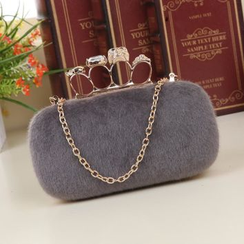 Skull handbags Evening  Ring Knuckle Clutch Bag