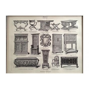 Pre-owned 1894 Antique Furniture Engraving