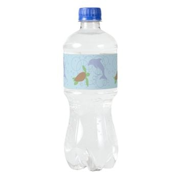 Sea Turtle and Dolphin Water Bottle Label