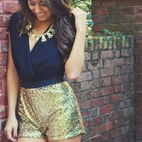 Add Some Sparkle Romper: Black/Gold