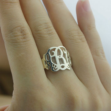 Monogram Ring - FREE SHIPPING Initial Ring - 925 sterling silver monogram ring 100% HANDMADE