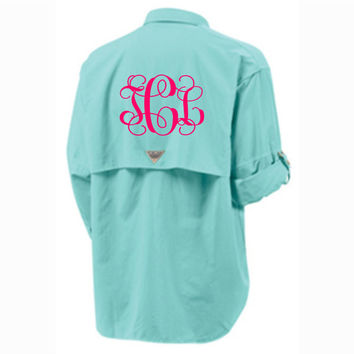 Monogrammed Columbia Fishing Shirt PFG Columbia Short Sleeve Fishing Shirt Bathing Suit Swim Suit Cover Up Large Monogram