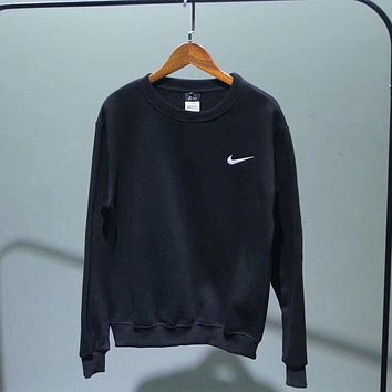 ''NIKE'' Fashion Casual Long Sleeve Sport Top Sweater Pullover Sweatshirt F Black