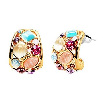 AUGUAU Small Gold Hoop Earrings, LIKGUS Multicolor Crystals and Opal Fashion Earrings for Women and Girls,Gifts for Women