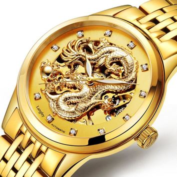 Langley Luxury Business Watch 3D Carving Dragon Skeleton