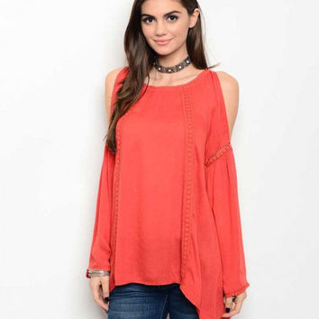 FREE U.S. SHIPPING Orange Off-Shoulder Tunic Coral Long Sleeve Top Bell Sleeve Crochet Top Open Shoulder Tunic Crochet Detail Casual Shirt