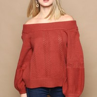 MINKPINK Always Off The Shoulder Sweater - Burnt Rose