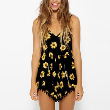 Straps Sunflower Rompers