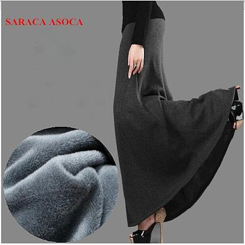 New Arrival Autumn and Winter Skirt Fashion Girls Thick Fabric High Waist Trumpet Long Skirt Female Saia Femininas