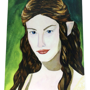 Arwin Lord of the Rings Watercolor and Ink Artist Print, Liv Tyler as Elf Arwin LOTR Art Prints, Watercolor Pencil Beautiful Arwin Painting