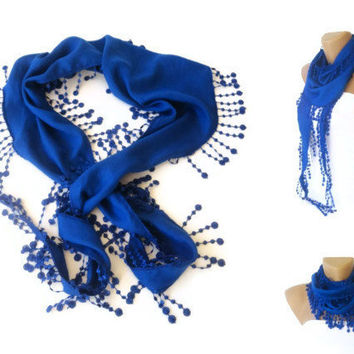 Mother's Day Gift - Royal Blue Pashmina Scarf with Trim Edge