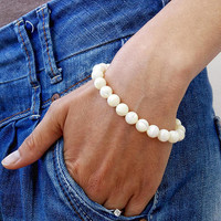 Bracelet IVORY PEARLS  BRACELET 8 mm Natural Antique Silver Women Energy Yoga Bracelet Pearls Meditation Healt Bracelet Energy Pearls 8 mm
