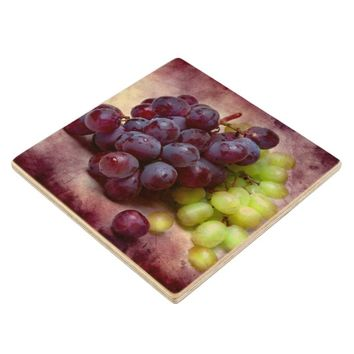 Grapes Red And Green Wooden Coaster