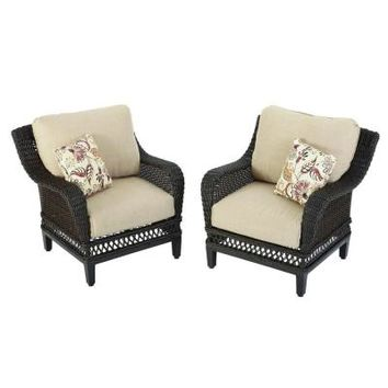 Hampton Bay Woodbury Patio Lounge Chair with Textured Sand Cushion (2-Pack)-DY9127-L-2 - The Home Depot