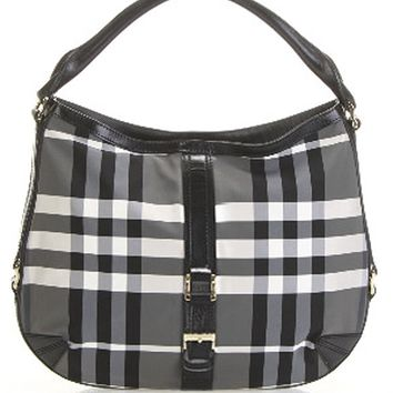 Burberry Grafton Medium Charcoal Beat Check Hobo bag