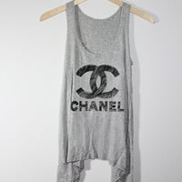 Draw Me a CHANEL  Women Tank Top  Grey  Sides Drop by zzzAfternoon