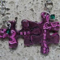 Puzzle Pieces Necklace Set Polymer clay Necklace Mom and Daughter Emerald Swarovski Crystals Set 11