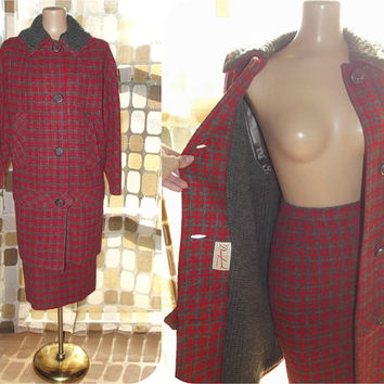Vintage 50s 60s Tweed Plaid Coat and Pencil Skirt Set | Red & Grey Wool Mohair Blend | Drop Waist Coat | Donnybrook Original