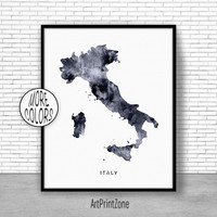 Italy Print, Watercolor Map, Italy Map Art, Map Painting, Map Artwork, Country Art, Office Decorations, Country Map Art Print Zone