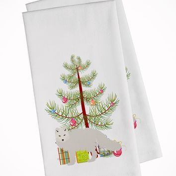 White Arctic Fox Christmas White Kitchen Towel Set of 2 BB9244WTKT