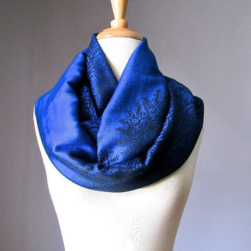 Blue scarf, cobalt infinity scarf, paisley scarf, long scarf, floral scarf, Gift idea for her, women accessories