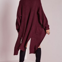 Missguided - Oversized Cardigan Burgundy