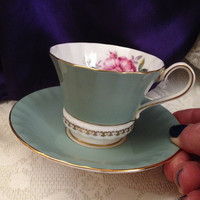 Aynsley Sage Green Teacup, Saucer, Paneled Corset Shape, Gold Fleur de Lis Banding, Rose Floral Inner,  Vintage Bone China, England
