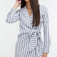 Striped Tie Dress in White