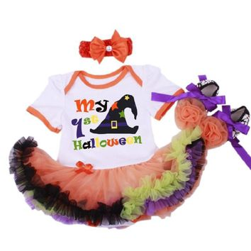 My First Halloween Baby Sets for New Born Pumpkin Outfit Short Sleeve Lace Tutu Dress Romper +Headbands+Shoes Baby Girl Gifts