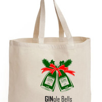 Gingle Bells Cotton Tote ECO canvas for life Gin Jingle bells Christmas Hand Bag | eBay