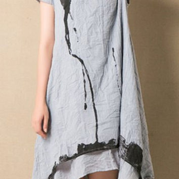 Gray Ink Print Short Sleeve Midi Dress