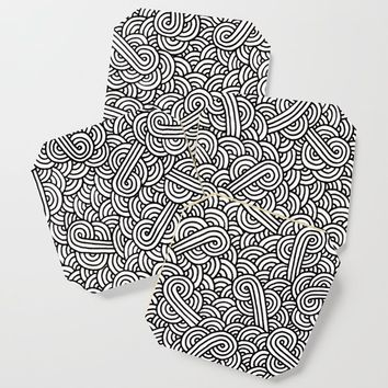 Black and white swirls doodles Coaster by savousepate