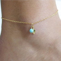 New Arrival Ladies Shiny Jewelry Stylish Sexy Cute Gift Hot Sale Summer Fashion Simple Design Turquoise Leaf Anklet [6768751303]