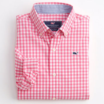 Boys Seascape Gingham Whale Shirt