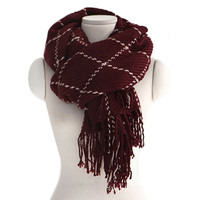 Checks Scarf Tassel Tippet Neckerchief   wine red