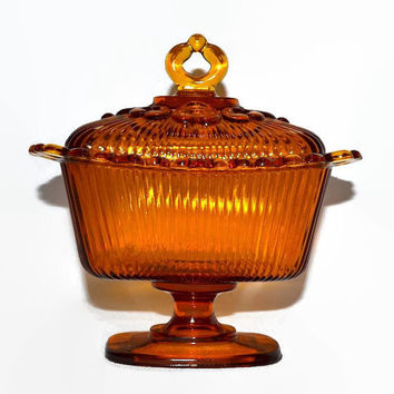 Amber Glass Covered Candy Dish - Open Lace Pedestal Style  - Rectangle - Vintage Indiana Glass