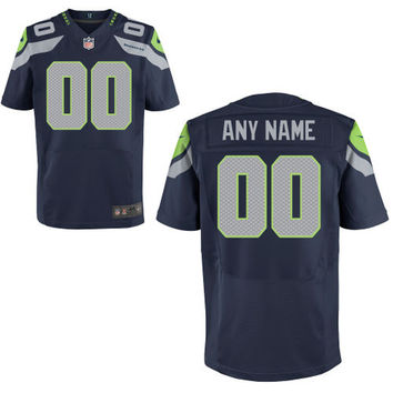 Mens Seattle Seahawks Nike College Navy Custom Elite Jersey
